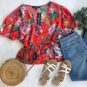 One Clothing Floral Wrap Top